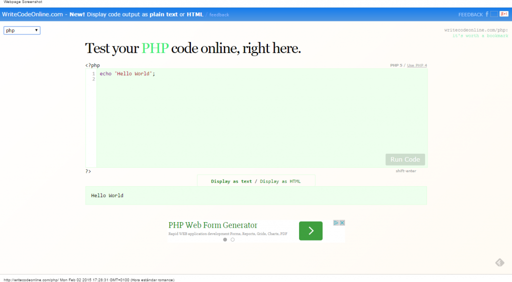 Testear código PHP online