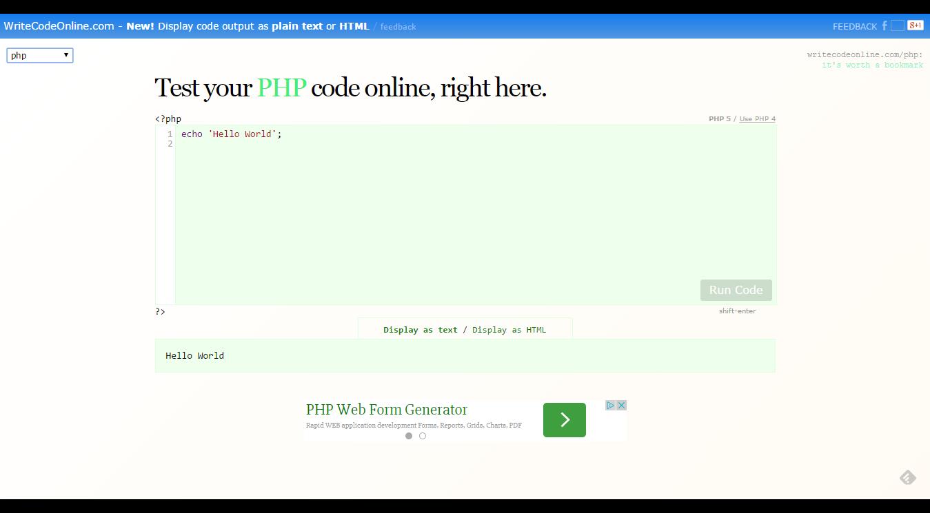 Ejecutar código PHP online