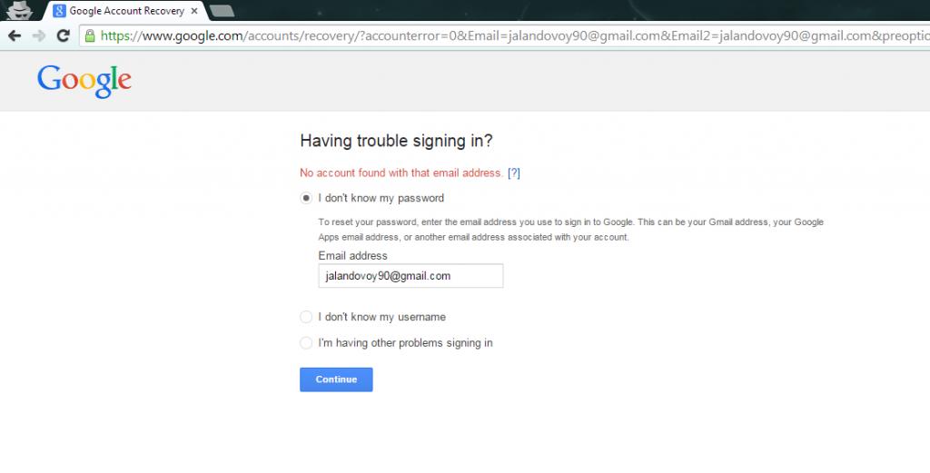 Ejemplo de cuenta inexistente al intentar recuperar la contraseña en Gmail